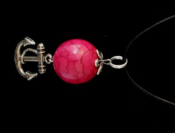 Hot Pink Turquoise Pendant / Nautical Anchor Charm Pendant / Womans Pendant / Ladies Jewelry/ NP61010