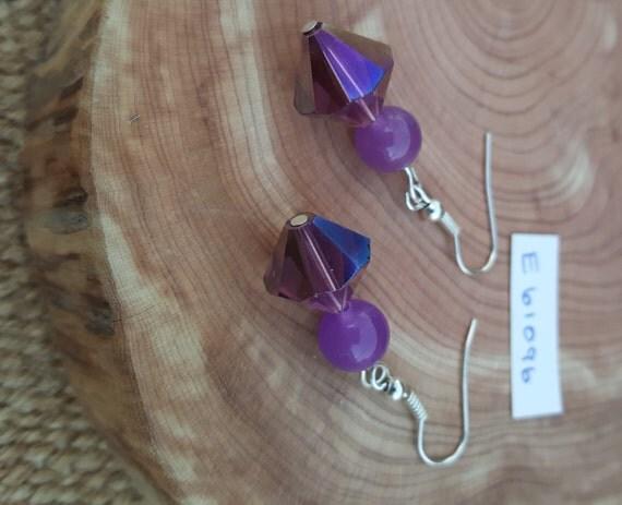 Purple Stone Earrings / Purple Sparkle Earrings / Purple Beveled Bead Earrings / Dangle Earrings / Hippie Earrings / Boho Jewelry /E61096