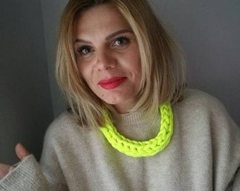 T Shirt Yarn Necklace Neon Green Necklace Upcycled Necklace