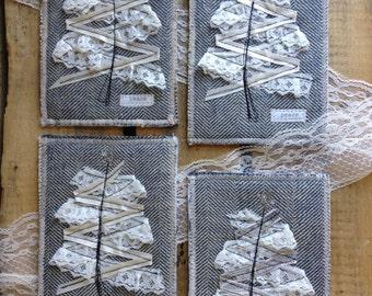Christmas Postcard - Holiday Greeting Card - Christmas Gift - Christmas Tree Postcard - Fabric Postcard