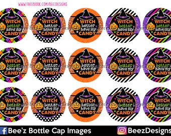 33% off SALE- INSTANT DOWNLOAD- Witch Candy- 1inch Bottlecap Images- 4x6 Digital Collage Sheet