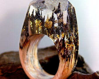 Golden Castles Wooden Resin Ring made with Birch wood and gold flakes