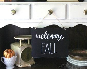 Welcome Fall Hanging Chalkboard