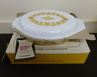 "Vintage Pyrex Compatibles Butterfly Gold 1 Quart Divided Serving Dish (1960/70""s) #963-4"