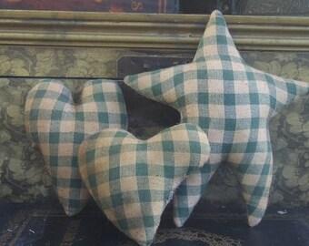 Primitive Hearts and Star Bowl Filler Shelf Sitter