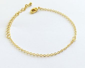 10 Gold Charm Bracelet Chain Lobster Clasp in Shiny Gold brass bar chain Bracelet components BR-G
