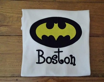 Batman Appliqued Shirt/ Batman Birthday/ Personalized Batman Shirt/ Batman Applique Design