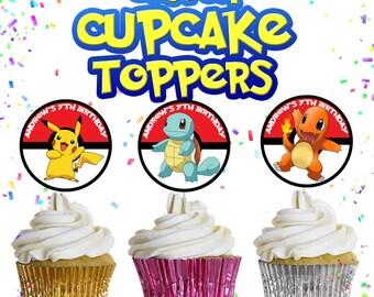 PRINTABLE Cupcake Toppers, Pokemon, Cupcake, Birthday, Party, Custom Template