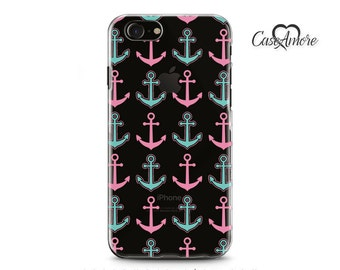 iPhone 7 case, Clear cases, Rubber cases, Transparent cases, iPhone 6 case, iPhone 7 Plus case, Galaxy S7 case, Pink and Turquoise anchors