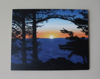 Sunset by the Water Silhouette/ Acrylic Painting