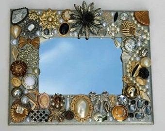 Silver jeweled mirror