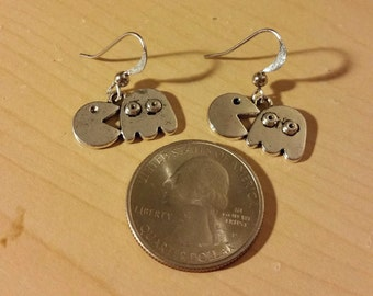 PacMan earrings silver homemade 1 pair only