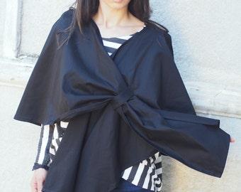 NEW Black poncho/black sleveles coat/black women bolero/unique handmade sleveless coat/black cotton vest