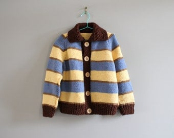 Hand Knitted Boy Stripe Cardigan Size 3 - 4 Years Old #k011a