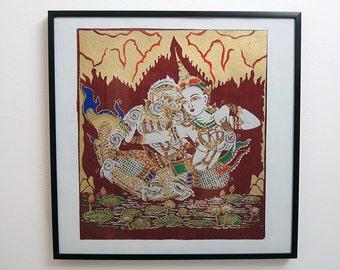 Hanuman - Asian silk screen print - framed wall hanging on Thai silk