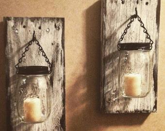 Jar candle holder Rustic decor farmhouse