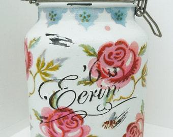 Handmade Emma Bridgewater Large Mason Clip Jar Rose and Bee