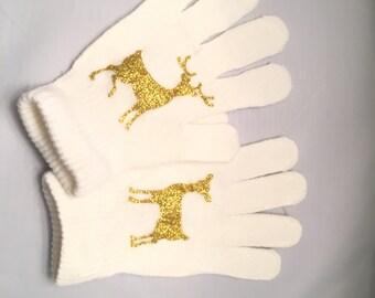 Deer gloves - warm winter - gold glitter