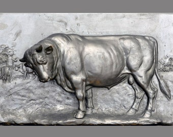 Bronze relief, BULL, silvered