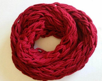 Crimson Arm-Knit Scarf