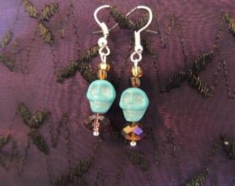 Teal and Brown Skull Earrings