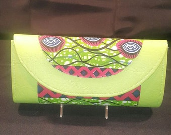 Green leather and African Print Clutch