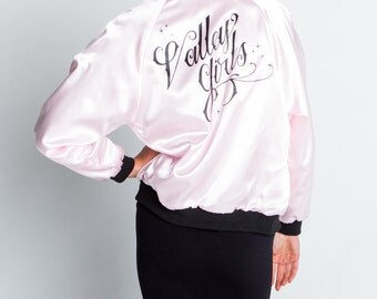 "Valley High ""Valley Girls"" Pink Satin Bomber Jacket"