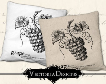 Grape digital transfer image iron on printable instant download digital collage sheet VD0651