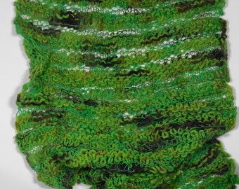 Knitted merino Scarf-Brown/Green
