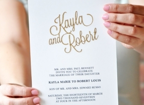 Gold Glitter Wedding Invitations, Laser Cut Wedding Invitation, Pocket Wedding Invitation - Kayla Collection SAMPLE by Engaging Papers