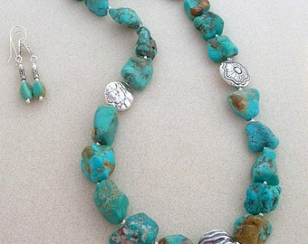 Arizona Turquoise Nugget and Sterling Silver Necklace and Earring Set