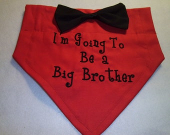 Gender Reveal, Dog Bandana, Big Brother, Personalized, a Big Brother, Black Bow Tie, Baby Shower Gift, Baby Announcement, Dog Lovers Gift