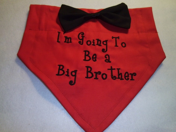 Dog Bandana, Big Brother, Personalized, I'm Going to be a Big Brother, Black Bow Tie, Over the Collar, baby Announcement