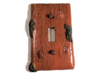 Nature Tree Switch Plate Cover - Faux wood Light Switch Cover - Polymer Clay Switchplate Cover - Moss and wood