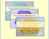 THREE Easy Baby Crochet Patterns - Easy Mini Blankets - Easy Baby Blankets - Easy Newborn Crochet - Easy Crochet Photo Props - Download .pdf