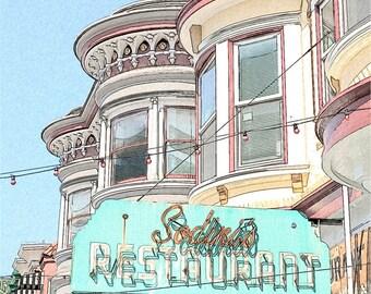 Little Italy Sodini's Photo Sketch, San Francisco North Beach Restaurant, 8x8 Fine Art Print