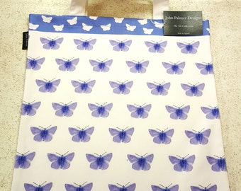 Common blue butterfly tote bag - butterfly design tote bag, butterfly leisure bag, butterfly shopping bag