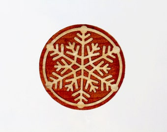 "Marquetry Snowflake ""Lumi"" Pin - Brooch - Pentant made from Cedar and Maple Wood"