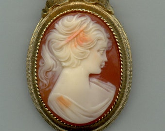REDUCED   1960's Faux Shell Cameo Brooch Signed Lisner
