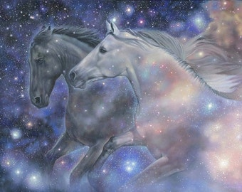 Horses running starry sky black white equine wall art print by Leslie Macon