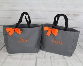 10 Monogrammed Bridesmaid Tote Bags, Bridesmaid Gift, Personalized Bridemaid Tote, Wedding Party Gift,  Name Tote, Bridesmaid Tote Bag