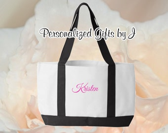 8 Personalized Bridesmaid Gifts, Monogrammed Tote Bags, Personalised Totes, 2 Color, Tote Bags, Wedding Bag, Getting Ready Tote, Bridesmaids