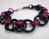 Luka - Black Orange Fuchsia Chainmail Bracelet - Chainmaille Jewelry Chunky Bracelet Rocker Chic 80s Retro Colorful Jewelry