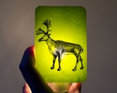 Christmas Nightlight Reindeer Lime Green Fused Glass Night Light - Gift for Baby Shower or Nature Lover - Christmas animal - Holidays