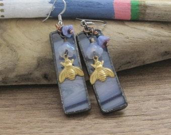 Boho Bee Earrings | Bohemian | Stained Glass | Gift Under 50 | Gold | BOHO | Hippie | Dangle Earrings | Festival Jewelry | Insect | Purple