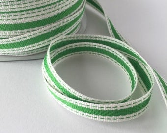 """Striped Ribbon 3/8"""" Wide - Green with Ivory Border - Woven Fabric Ribbon with Stitched Edge 5 Yards Parrot Green"""