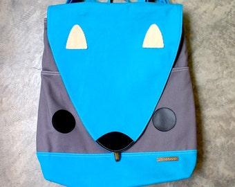 SQUIRREL Fabric Vegan Diaper Backpack - Laptop Backpack - Diaper Bag - Fabric Backpack - Squirrel Bag - Turquoise Blue Gray Squirrel Bag