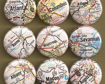 One Inch Magnet Set - Georgia Map - One-of-a-kind Set