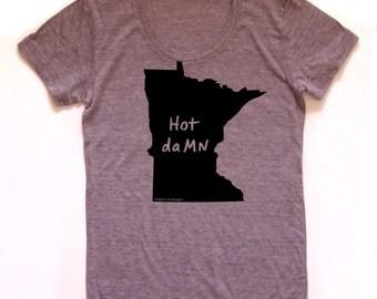 minnesota shirt, minnesota tshirt, graphic t, state pride, woman fashion t, gray tshirt, screen print, silkscreen, free shipping