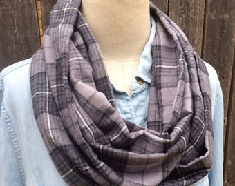Clearance Sale! Soft warm flannel infinity scarf - classic grey gray and black neutral tartan plaid